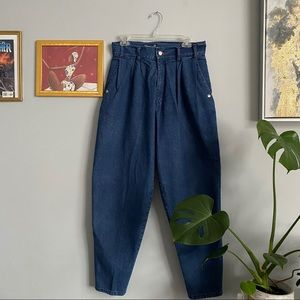 Vintage Pleated High Waisted Jeans